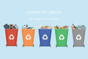 Recycling bins with sorted garbage