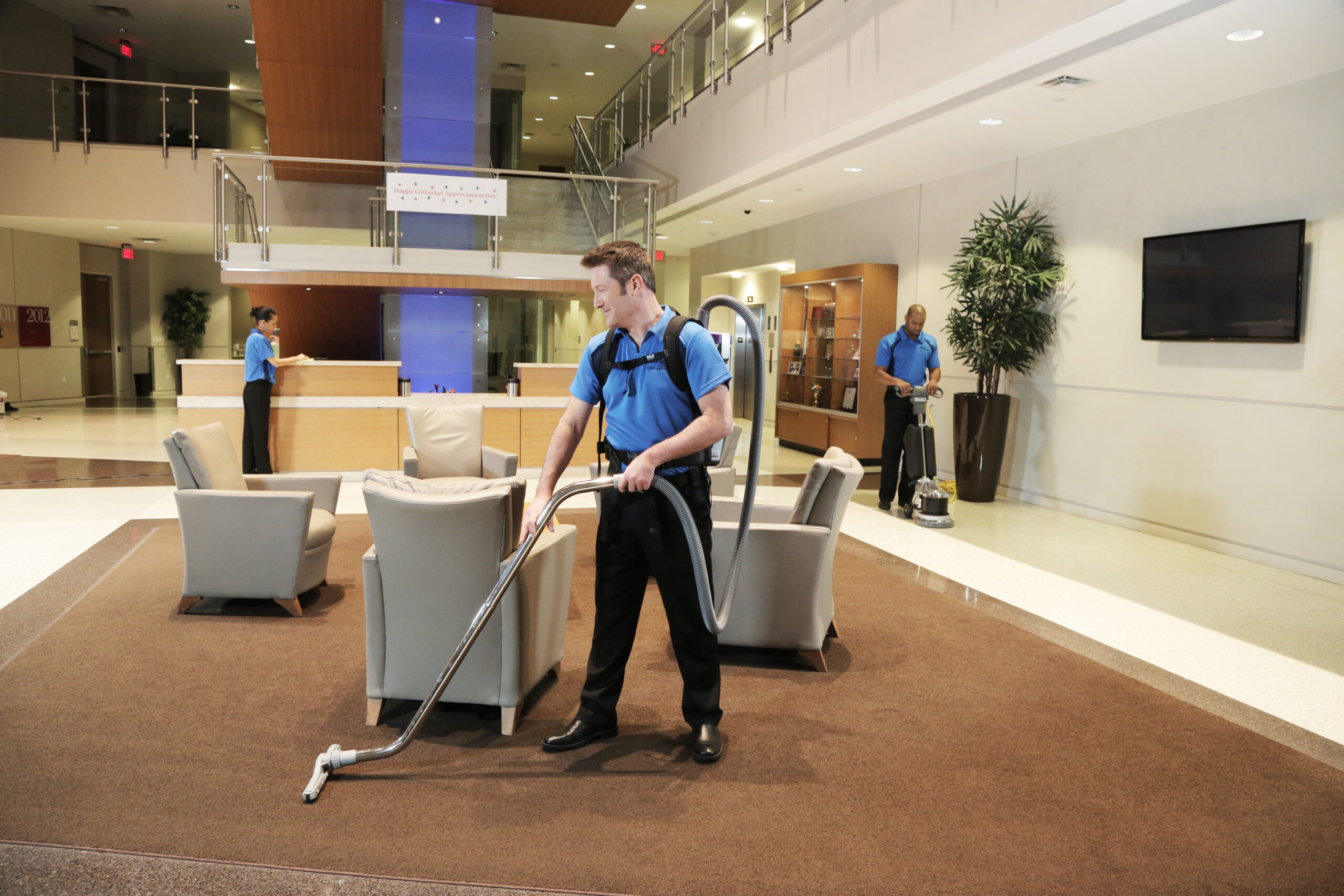 Group Cleaning Office Lobby
